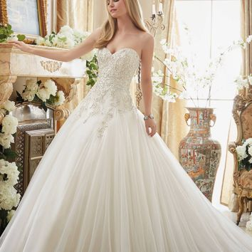 Mori Lee 2892 Strapless Beaded Bodice Ball Gown Wedding Dress