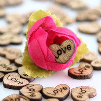 100pcs/lot Rustic Wooden Heart Shapes Embellishments, Craft Confetti & Table Wedding Decoration
