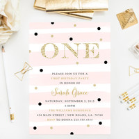 Gold Glitter First Birthday Invitations Blush Pink Glitter Confetti Printable Birthday Party Invitations