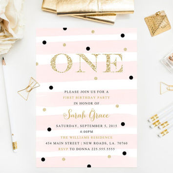 Gold Glitter First Birthday Invitations Blush Pink Confetti Printable Party
