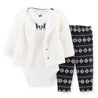 3-Piece Faux Fur Cardigan Set