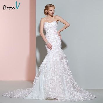 Dressv wedding dress luxurious sweetheart court train long bridal gown elegant appliques flowers vintage mermaid wedding dresses