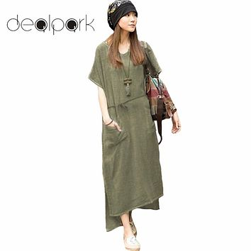4XL 5XL Plus Size Maxi Dresses Women Retro Casual Loose Long Dress Cotton Linen Solid Short Sleeve Ankle Length Dress Oversized