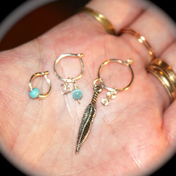 Thick 18 Gauge Set of Three Cartilage Earrings, Turquoise Beaded Nose Rings, Cat's Eye Nose Hoops,  Ear Cuff, Helix Hoop, Piercing Jewelry