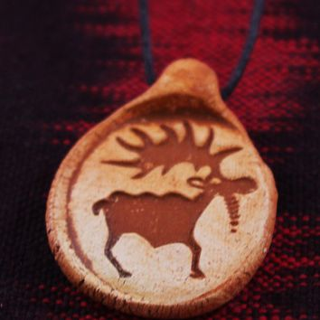Earthtone Rock Art Moose Clay Pendant Necklace
