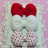 Vintage Inspired Bow Retro Hair Bow Clips Red Hair Bow White hair bow polkadot hair bow girly hair bows clips women teens girls