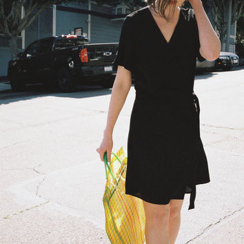 SIDE PARTY | Parisian Buckle Wrap Dress - Black