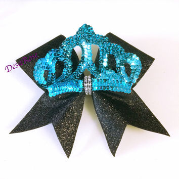 Princess Crown Cheer Bow with Glitter and Bling