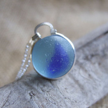 Sea glass marble necklace in blue, Blue cat's eye marble, sea glass marble necklace, bezel set beach marble on sterling silver chain, gift