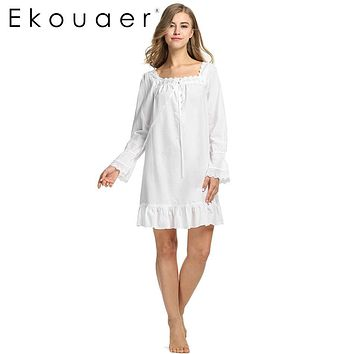 White Sleepwear Sleep Dress Long sleeve Women Cotton Nightgowns Sexy Long Robe Home Dress Nightdress Summer wear