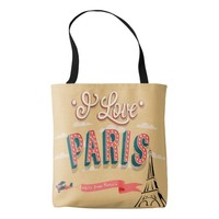 I love Paris vintage style tote bag
