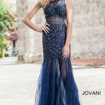 Navy Beaded Sheer Prom Dress 171100