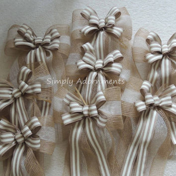 Burlap Ivory Wreath Bow Ivory Tan Wreath Bow Ivory Burlap Wedding Bow Rustic Burlap Church Aisle Decor Bow Rustic Wedding Ceremony Bow