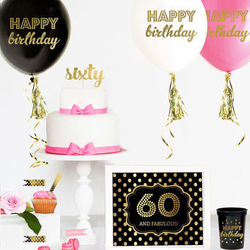 60th Birthday Cake Topper - 60 Cake Topper  - 60th Birthday Party Ideas -  60th Birthday Decorations - Sixty CAKE TOPPER -60th Card - Gift
