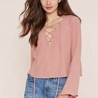 Contemporary Bell-Sleeve Lace-Up Top