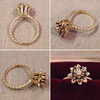 Estate ornate 14k yellow blue sapphire and diamond Tulip flower Ring  twisted rope shank   Tulip motif flower ring  size 6 1/2