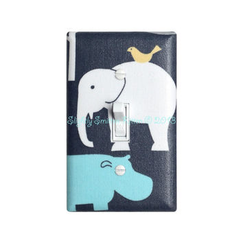 Elephant Light Switch Plate Cover / Baby Boy Hippo Nursery Decor / Aqua Yellow Gray / Urban Zoology Its a Boy Thing Sea / Michael Miller
