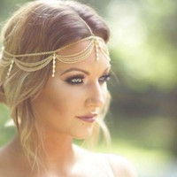 Boho Gold Draping Crystal Hair Cuff Arabian Headpiece