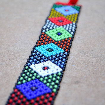 African diamond design bracelet,Beaded African Bracelet,African seed beads,Traditional African Beadwork,Ethnic African jewellery