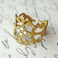 Personalized Birthstone Art Nouveau Rhinestone Filigree Brass Ring. Choose your favorite color.
