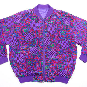 Vintage 90's paisley hippie psychedelic print hip-hop bomber jacket