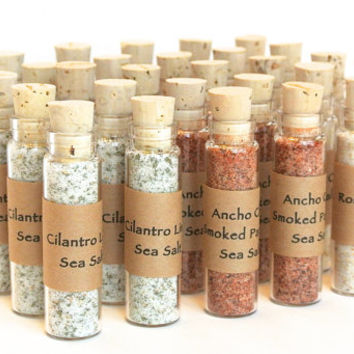 Salt Wedding Favor- 25 Mini Bottles of Gourmet Flavored Sea Salt for Weddings, Showers, Corporate Gift, Finishing Salt, Seasoning Blend