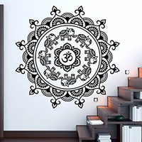 Om Wall Decal Mandala Vinyl Sticker Decals Elephant Ornament Moroccan Pattern Bohemian Bedroom Home Decor Namaste Yoga Studio Interior NV171 (22x22)