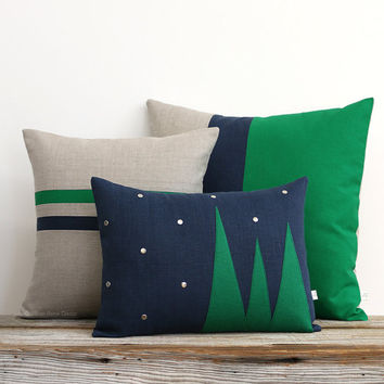 Winter Wonderland Pillow Cover (Set of 3) - Emerald Green and Navy Blue Holiday Pillows by JillianReneDecor - Felt Christmas Trees