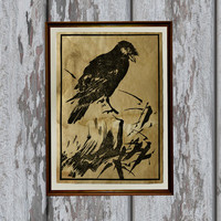 Japanese Bird art print Old paper Antiqued decoration vintage looking