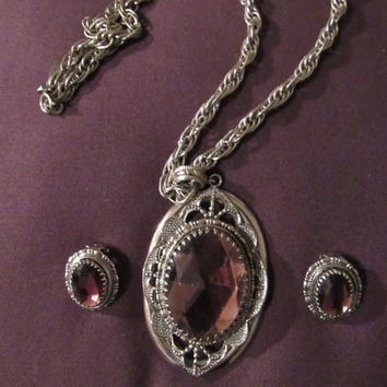 50s 60s Whiting Davis Necklace Matching Earrings Set Purple and Silvertone Pendant