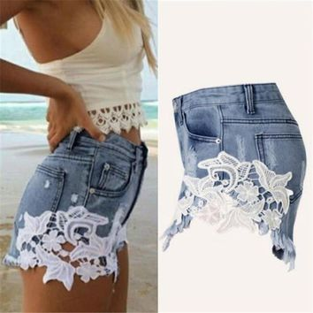 2017 Hot Sale Sexy Fashion Women High Waist Tassel Hole Shorts Jeans Denim Lace Short Pants  S-XXL Size high quality MAR2