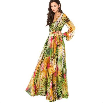 Zmart Tropical Floral Print Chiffon Long Sleeve Maxi Dress