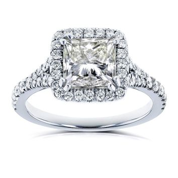 Certified 2.50 Ct. Princess Clarity Enhanced Diamond Halo Engagement Ring in 14K White Gold