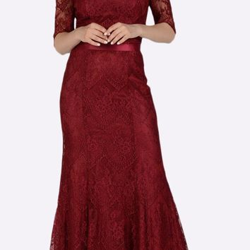 Off Shoulder Lace Fit and Flare Evening Gown Burgundy
