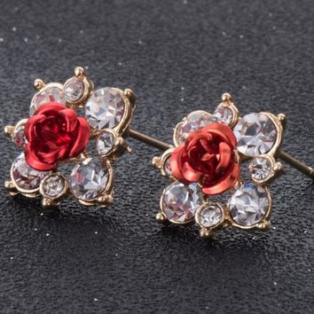 Crystal Flower Rose Earrings - 11 Colors