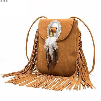 Bohemian Fringe Messenger Crossbody Bag