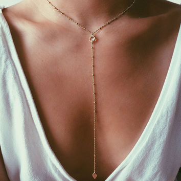 Beautiful Crystal Lariat Long Gold Tone Beaded Chain Choker Necklace