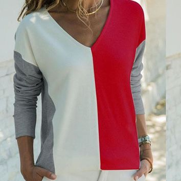 New Red Patchwork V-neck Long Sleeve Streetwear T-Shirt