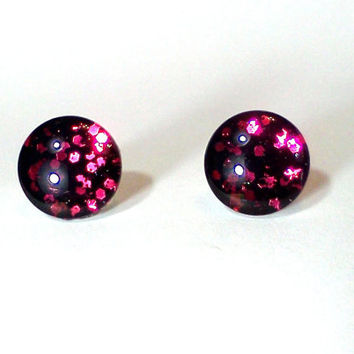 Glitter Earring, Nail Polish Jewelry, Glitter Jewelry, Nickle Free Earring, Glitter Nail Polish, Glitter, Black Earrings, Stud Earrings