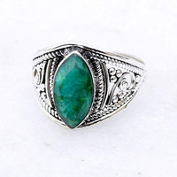 Green cut Stone, silver ring, stone ring, 92.5 sterling silver, Silver Green ring, Natural  Green cut stone Silver Ring, RNSLGC301