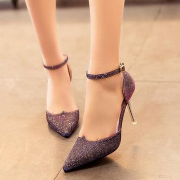 Sequins Pointed Toe Low Cut Ankle Wrap Stiletto High Heels Club Shoes