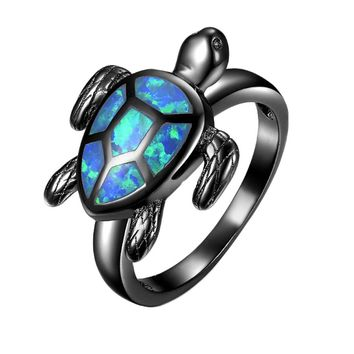 Unique Turtle Blue Fire Opal Animal Rings For Women  Fashion Jewelry Black Gold Filled Cocktail Ring
