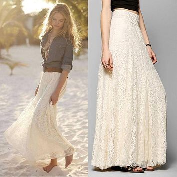 Bohemian  New European and American Style Women Pleated Solid Mesh Lace Layered Gypsy Boho Summer Long Maxi Skirt Girl Beach Clothing