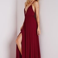 CHEESECLOTH PLUNGE MAXI DRESS WINE