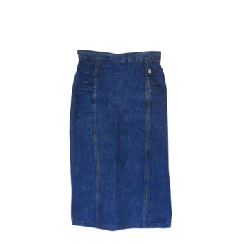 80s Denim Skirt Jean Skirt Pencil Skirt Knee Length Skirt High Waist Skirt Guess Jeans Skirt 80s Clothing 80s Clothes Women Skirt Long Skirt