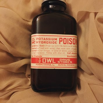 "Genuine Vintage ""Potassium Hydroxide"" Apothocary Label on New Bottle Curiosity Oddity Curio Cabinet"
