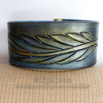 Leather Feather, Wrist Cuff, Blue and Gold, Carved Leather, Gold Glitter, Natural Leather Cuff, Feather Jewelry, Leather Bracelet