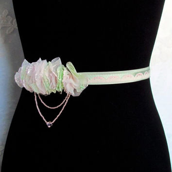 Green and Pink Floral Belt - Beaded Bridal Sash, Bridesmaid Accessories, Prom Belt, Lace Sash
