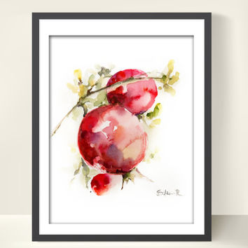 Red Pomegranates on Branch Watercolor Painting Art Print, Watercolour Modern Art
