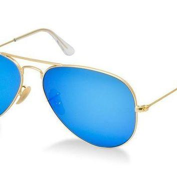 Kalete New Authentic Ray-Ban Sunglasses AVIATOR RB 3025 112/17 55mm Mirror Matte Gold